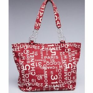 Chanel Coco Monogram Red White Canvas Large Tote